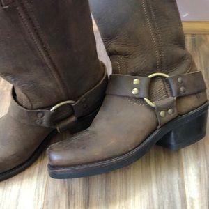 Frye Dark Brown Leather Boots with Harness Strap 5